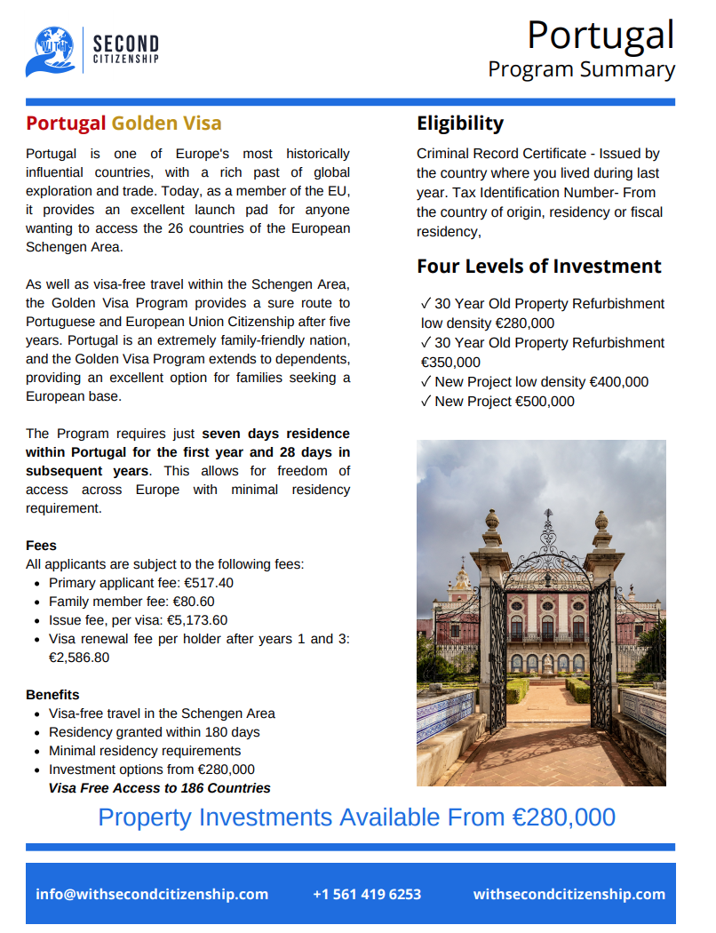 Portugal Residency by Investment Program Summary