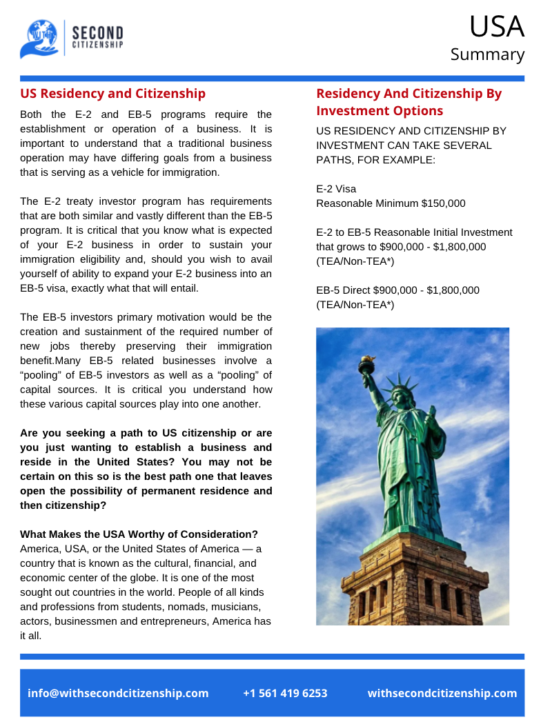 US Residency and Citizenship Summary Flyer Download